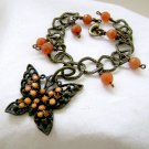 Butterfly Charm Bracelet Orange Aventurine - Antiqued Brass Chain