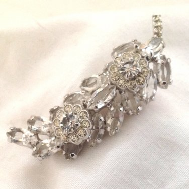 Leaf and Flowers Brooch / Pin - Clear Rhinestones Set with Prongs - Sparkles