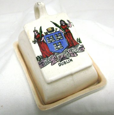 Vintage Mini Cheese Dish With Tray - Crested Crest Ware - Souvenir of Dublin Ireland