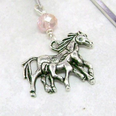 Horse Charm Bookmark with Crystal Bead on a Metal Shepherd's Hook - your choice color bead