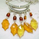 Tribal Choker Necklace - Autumn Leaves and Earrings