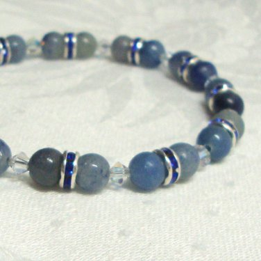 Blue Aventurine and Swarovski Crystallized Elements Beaded Bracelet Sterling