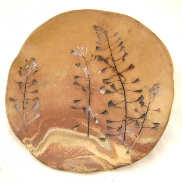 Earth Color Bowl - Sandstone Desert Stylized trees in Southwest style - Signed