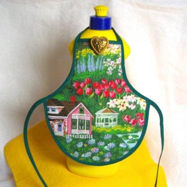 Bottle Apron Cozy - Handmade using Fabric - Flowers and Gazebo Spring fresh design