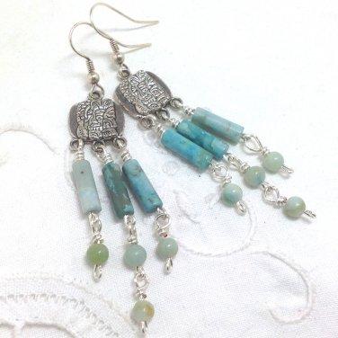 Amazonite Blue Sky Beaded Chandelier Earrings - Silver plated ear wires