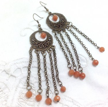 Aventurine Orange Beaded Chandelier Earrings - Antique Brass ear wires