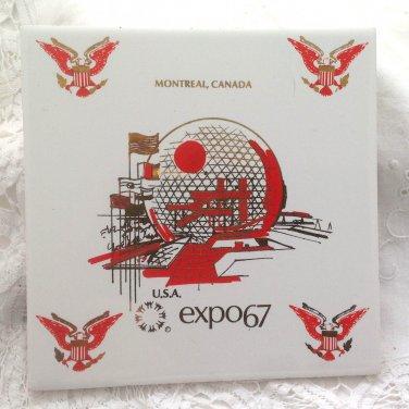 Vintage USA Souvenir Ceramic Tile - US Pavilion Expo 67 - Montreal Canada - USA Geodesic Dome