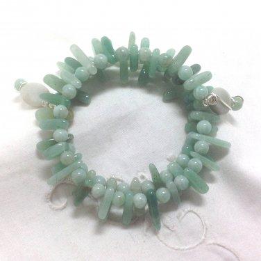 Handmade Amazonite Multi Strand Bracelet - Memory Wire silvertone Aqua beaded