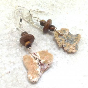 Seashore Shell and Beaded Dangle Earrings - Silver Plated Ear Wires