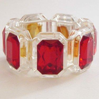 Chunky vintage bracelet - cuff ruby red modern 1970s