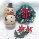 Shabby Vintage Snowman Felted / Brush Wreath / Flower Pick Christmas Ornaments