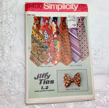 Vintage Simplicity Pattern 9400 - Retro Men's Wide Tie / Bow Tie - Jiffy Sewing
