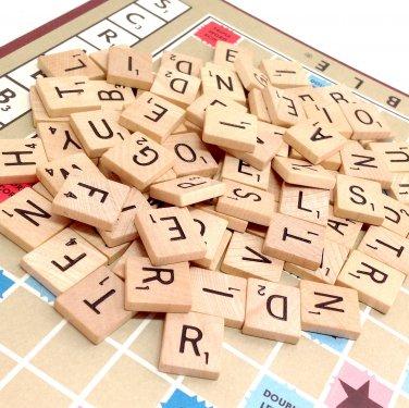 Vintage Wooden Scrabble Tiles - 48 Random Letters for Scrapbooking or Crafts