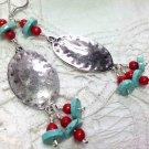 Turquoise Blue Dangle Earrings - Silver Plated Boho Southwest