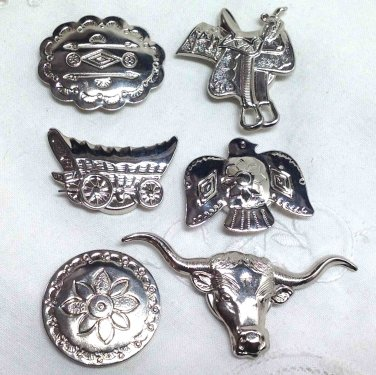 Button Covers - Six Metal SouthWestern style - Embellishment Button Sewing Supply
