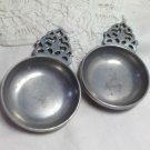 Vintage Porringers - Pair with Filigree Handle - Pewter Horsehead Stede Hallmark