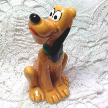 Vintage Pluto Disney Dog Ceramic Figurine Japan Orange Cute - Original Price Label - 2-1/2""