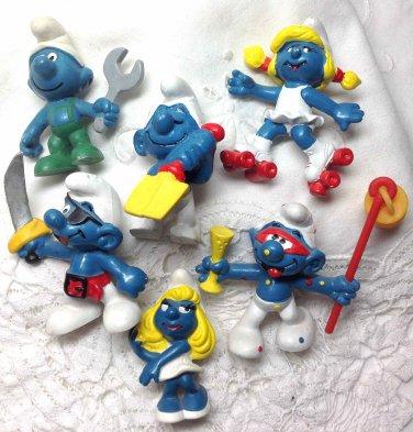 Smurfs Smurfettes 6 Peyo Bully Schleich Pirate Shovel Drinking Roller Skating Wrench W Germany 80s