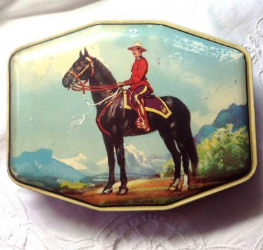 Vintage George W. Horner Candy Tin - Royal Canadian Mountie on Horse - England