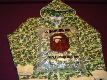 NWT A Bathing Ape Green Camo Hoodie Jacket Kaws Bape Size L