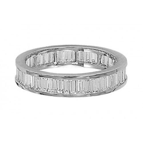 1 Carat Baguette Cut Diamonds Full Eternity Wedding Ring in 18K White Gold