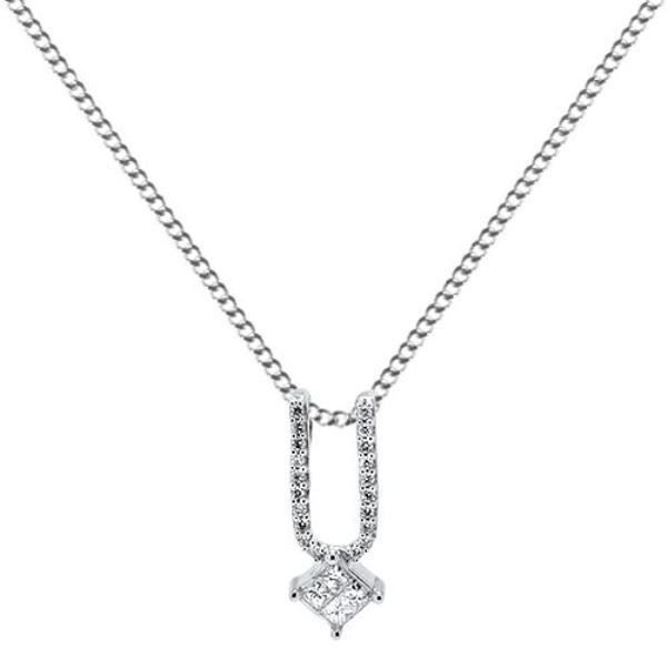 0.20ct F/VS Round & Princess Cut Diamond Pendant with Chain in 18K White Gold
