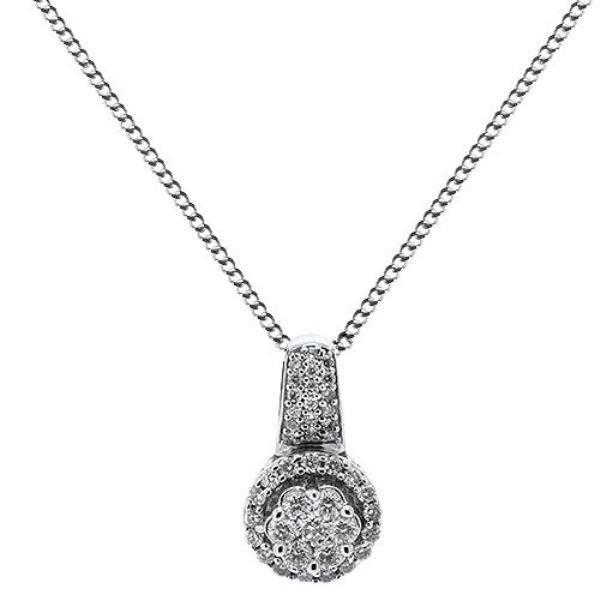 """0.51ct F/VS Round Brilliant Cut Diamond Pendant & 16""""Chain in 18carat White Gold"""