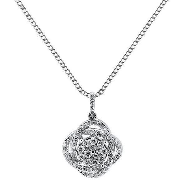"""0.48ct F/VS Round Brilliant Cut Diamond Pendant & 16""""Chain in 18Carat White Gold"""