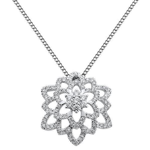 """0.52ct F/VS Round Brilliant Cut Diamond Pendant & 16"""" Chain in 18k White Gold"""