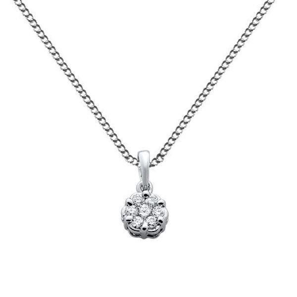 """0.18ct F/VS Round Brilliant Cut Diamond Pendant & 16"""" Chain in 18k White Gold"""