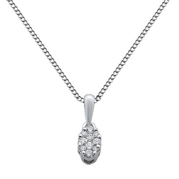 "0.11ct F/VS Round Brilliant Cut Diamond Pendant & 16"" Chain in 18k White Gold"