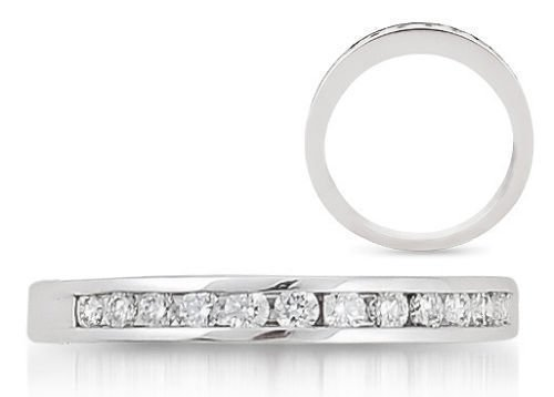 0.15carat Channel Set Round Diamond Half Eternity 18k White Gold Wedding Ring