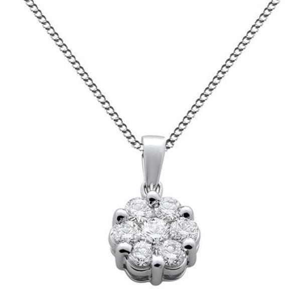 """F/VS 7 Round Brilliant Cut Diamond 0.91ct Pendant & 16"""" Chain in 18k White Gold"""