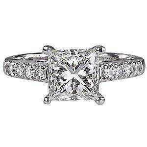E-F/SI 0.45Carat Princess & Round Cut Diamonds Engagement Ring 9k White Gold