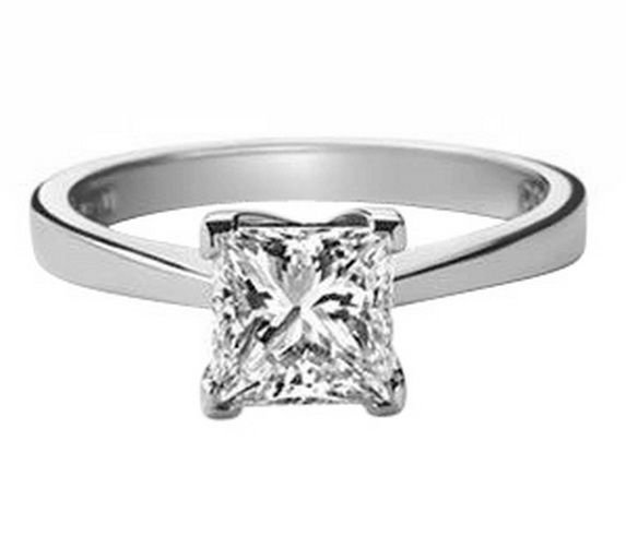 Solitaire 0.40carat Princess Cut Diamond Engagement Ring in18k White Gold