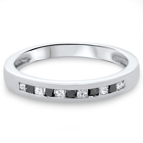0.24ct Black & White Princess Diamonds Half Eternity Wedding Ring,9k White Gold