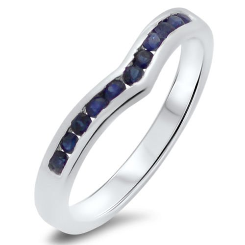 0.30ct Blue Sapphire Wishbone Shaped Half Eternity Wedding Ring in 9k White Gold