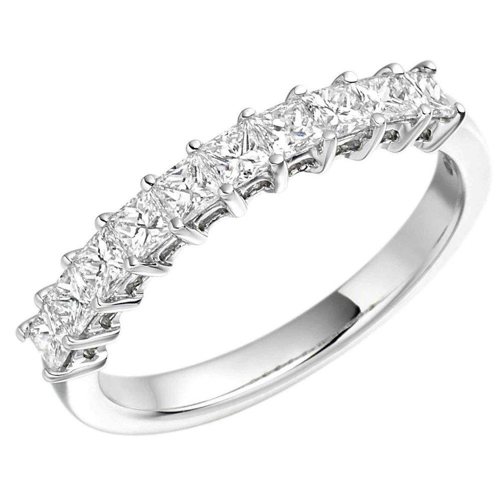 0.50carat PRINCESS CUT DIAMONDS HALF ETERNITY WEDDING RING IN PLATINUM