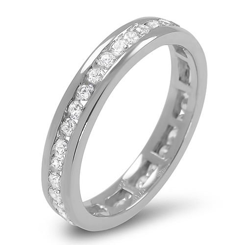 3.75mm  G/SI 0.50 ct Round Diamonds Full Eternity Wedding Ring in 9k White Gold