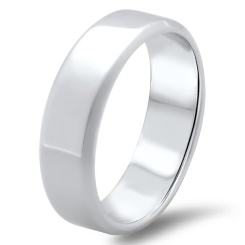 6.5mm 18k Solid White Gold Men's Wedding Band, Hallmarked By Assay Office London
