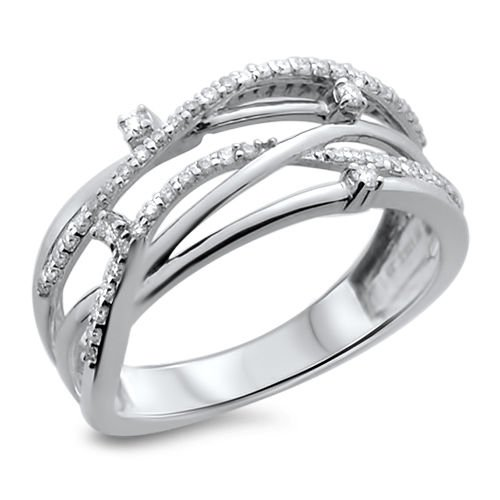 0.21ct Round Brilliant Cut Diamonds Contemporary design Ring in 18K White Gold