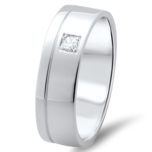 6.75 mm 18k Solid White Gold Men's  F/VS 0.07 ct  Round Cut Diamond Wedding Ring