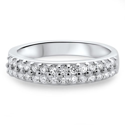 VS  0.52Ct Round Brilliant Cut Diamond Half Eternity Wedding Ring,18K White Gold