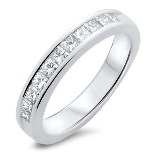 18K WHITE GOLD F/VS 0.76CT PRINCESS CUT DIAMONDS HALF ETERNITY WEDDING RING