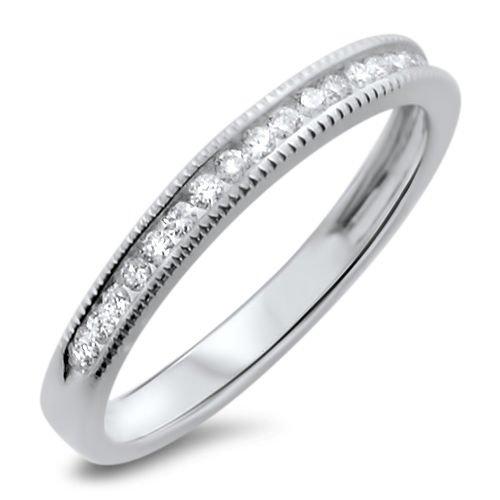 18k White Gold F/VS 0.20ct Channel Set Round Diamonds Half Eternity Wedding Ring