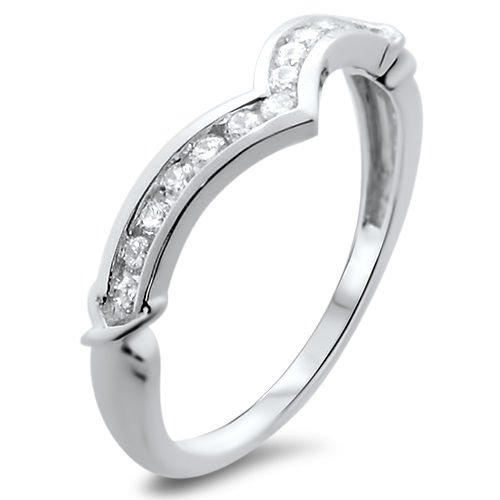 18K WHITE GOLD,WISHBONE SHAPED 0.25ct DIAMONDS HALF ETERNITY WEDDING RING