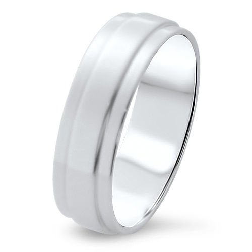 6.55mm 18k White Gold Mens Wedding Band  HALLMARKED BY ASSAY OFFICE LONDON from finediamondsrus