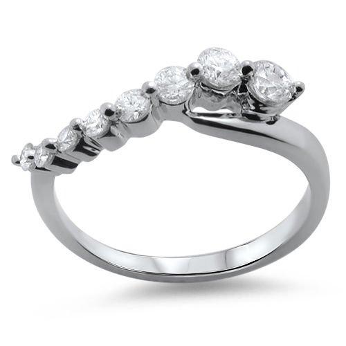 VS 0.51ct Round Brilliant Cut Diamond Half Eternity Wedding Ring,18K White Gold