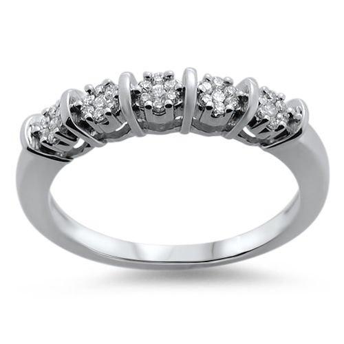 VS  0.18ct Round Brilliant Cut Diamond Half Eternity Wedding Ring,18K White Gold