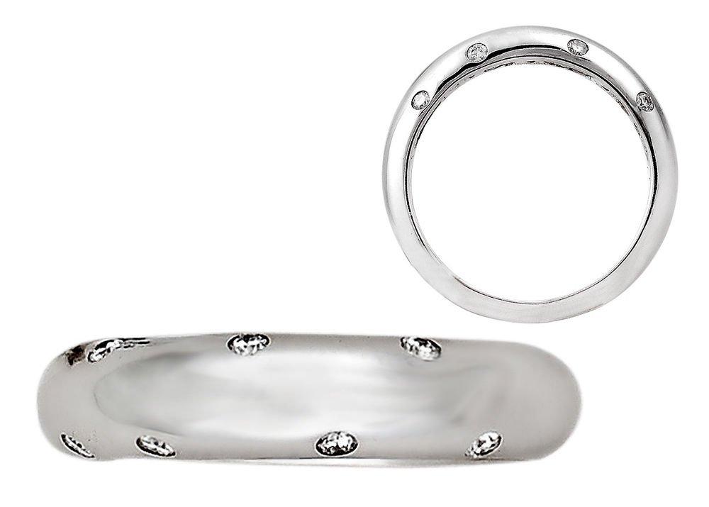 F/VVS 0.08ct Bezel Set Round Diamonds Wedding Ring in 18k Solid White Gold